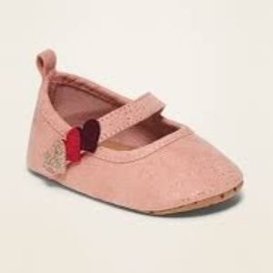 OLD NAVY Faux-Suede Heart-Strap Ballet Flats
